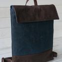 NINOX kollekció - waxolt navy szövet-barna bőr hátizsák, Minimál hátizsák, Waxolt navy kék szövet és barna bőr felhaszná...