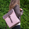NOCTUA kollekció - mályva szövet-barna bőr hátizsák, oldal-, vagy válltáska, Olyan táskát terveztem, amelyet háton, keresztb...