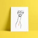 Whippet illusztráció, Képzőművészet, Illusztráció, Grafika, Rajz, Fotó, grafika, rajz, illusztráció, A termék paraméterei:   A print A/4-es méretű, 200 grammos papírra van nyomtatva.   A grafika egyed..., Meska