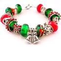 Békebeli karácsony! - zöld és piros karácsonyi charm karkötő pandora stílusban angyallal, Ékszer, Karkötő, Zöld alapon piros masnis cukorbot mintás, valamint zöld alapon fehér csíkos-piros pöttyös pan..., Meska