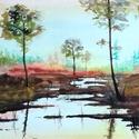 Őszi hangulat, Művészet, Festmény, Akvarell, Festészet, Akvarell festmény, akvarell papíron. Méretei keretezve 44x26cm, a kép saját mérete 33x14,5 cm. 2018..., Meska