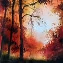Őszi erdőrészlet, Művészet, Festmény, Akvarell, Festészet, Akvarell festmény, akvarell papíron. Méretei keretezve 27x25 cm. a kép saját mérete 15x16 cm, 2018-..., Meska