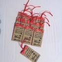 """Karácsonyi feliratos ajándékkísérő  (10 db), Dekoráció, Karácsonyi, adventi apróságok, Ünnepi dekoráció, Ajándékkísérő, képeslap, Egyedi tervezésű """"Merry Christmas"""" feliratos ajándékkísérőt készítettem. Hátlapja barna gyapjúfilc. ..., Meska"""