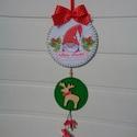 Karácsonyi manó - ajtódísz, Dekoráció, Ünnepi dekoráció, Karácsonyi, adventi apróságok, Karácsonyi dekoráció, Egyedi ünnepváró ajtódíszt készítettem manóval, fa rénszarvassal és harangokkal. Ajánlom ünnepváró d..., Meska