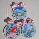 Téli képek manóval - karácsonyi falidísz, Dekoráció, Karácsonyi, adventi apróságok, Otthon, lakberendezés, Ünnepi dekoráció, Karácsonyi dekoráció, Falikép, Filcből készült falidísz,  filckorongok átmérője 10 cm. A téli havas tájképet a korongok szélén hópa..., Meska