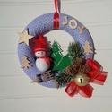 Karácsonyi ajtódísz, kopogtató hóemberrel, Karácsonyi, adventi apróságok, Otthon, lakberendezés, Karácsonyi dekoráció, Ajtódísz, kopogtató, Egyedi ajtódíszt készítettem az ünnepi időszakra. A koszorú alapja 20 cm-es hungarocell félkarika. P..., Meska