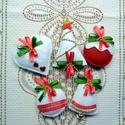 Karácsonyfadísz - dekorációs csomag (5 db), Dekoráció, Karácsonyi, adventi apróságok, Ünnepi dekoráció, Karácsonyfadísz, Karácsonyi dekoráció, Már készülnek az idei karácsonyfadíszek. Az ünnep meghatározó színeivel - piros, zöld, arany - filcb..., Meska