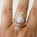 Shamballa gyűrű, ezüst szín dróttal, állítható/szabályozható méret, Ékszer, óra, Esküvő, Gyűrű, Esküvői ékszer, Drót technikával, saját kézzel készített ásvány gyűrű, ezüstözött réz dróttal, fehér..., Meska