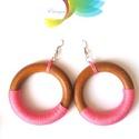 Karibi ritmus rózsaszín, Ékszer, Ruha, divat, cipő, Fülbevaló, A napsütötte barnaság és a lágy rózsaszín  kombinálása nagyon trendi párost alkot. A fakar..., Meska