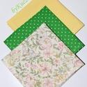 Textil zsebkendő szett, öko zsebkendő szett - zöld, sárga, virágos, Ruha, divat, cipő, Szépségápolás, Egészségmegőrzés, Fürdőszobai kellék, Textil zsebkendő - öko zsebkendő - zöld, sárga, virágos  Finom pamutvászonból készült zsebkendő szet..., Meska