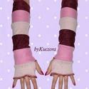 Rózsaszín-mályva-bordó karmelegítő, Ruha, divat, cipő, Kendő, sál, sapka, kesztyű, Kesztyű, Női ruha, Ősztől-tavaszig kellemes és vidám kiegészítője lehet öltözékednek ez a rózsaszín-mályva-bordó anyago..., Meska