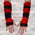Fekete-piros karmelegítő, Ruha, divat, cipő, Kendő, sál, sapka, kesztyű, Kesztyű, Női ruha, Ősztől-tavaszig kellemes és vidám kiegészítője lehet öltözékednek ez a fekete-piros anyagokból készü..., Meska