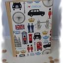 Londun Fun napló, Mindenmás, 15*21cm-es papírmasé borítós füzetet dekoráltam cartonage technikával. Különleges brit szim..., Meska