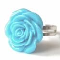 Türkiz műanyag rózsa gyűrű, Ékszer, Gyűrű, A rózsa átmérője 2.5 cm, a boltomban találsz ilyesmit fehérben,és rózsaszínben is:)  A gy..., Meska