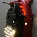 Motor alkatrészből fali lámpa / kulcstartó, Férfiaknak, Otthon, lakberendezés, Lámpa, Fali-, mennyezeti lámpa, Mindenmás, Egy kismotor motorblokkjából készítettem ezt a fali lámpa / kulcstartó kombinációt.  A fényezése me..., Meska