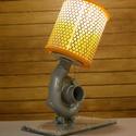 Autóalkatrészből asztali lámpa, Férfiaknak, Otthon, lakberendezés, Lámpa, Asztali lámpa, Mindenmás, Ford turbó feltöltőből készítettem ezt a lámpát.  A talpán látható a turbó robbantott ábrája amely ..., Meska
