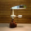 Motor alkatrészből lámpa, Férfiaknak, Otthon, lakberendezés, Lámpa, Asztali lámpa, Mindenmás, Motorkerékpár alkatrészekből alkottam ezt a lámpát. Többek között hengerből, főtengelyből ( dugatty..., Meska