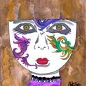 Képzeletarcú lány, Képzőművészet, Festmény, Akvarell, Festmény vegyes technika, Festészet, Egy parfüm (Joanita) dobozának borítója ihletett meg, amelyet az anyósomtól kaptam, így készítettem..., Meska