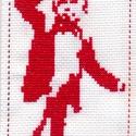 Twin Peaks - A Törpe hímzett könyvjelző, Képzőművészet, Textil, Hímzés, Twin Peaks - A táncoló Törpe.   Keresztszemes hímzéssel készített könyvjelző. Anyaga kongré. Mérete..., Meska