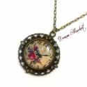 Vintage óra nyaklánc, Ékszer, Nyaklánc, Medál, Üveglencsés medálomat a vintage stílusa ihlette. A finoman csipkézett medálalap romantikus hat..., Meska