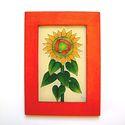 Napraforgó falikép, Otthon, lakberendezés, Dekoráció, Falikép, Kép, Festészet, Üvegművészet, Gyönyörű látvány nyáron egy napraforgó mező. Ez a virág nyarat, napsütést idéző sárga színeivel sok..., Meska