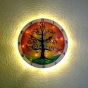 Életfa  falióra világítással, Otthon, lakberendezés, Esküvő, Falióra, Nászajándék, Üvegművészet, Festett tárgyak, Nappal falióra, ha eljön az este és bekapcsolod a világítást, varázslatos fényekkel tölti meg a szo..., Meska