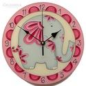 Elefánt falióra, Baba-mama-gyerek, Otthon, lakberendezés, Gyerekszoba, Falióra, Festett tárgyak, Üvegművészet, Üvegfestett, egyedi készítésű falióra. A felálló ormányú elefánt a feng-shui tanítás szerint szeren..., Meska