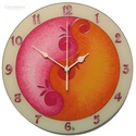 Lélekvirág falióra - napfelkelte - rózsaszín - narancs, Otthon, lakberendezés, Dekoráció, Falióra, óra, Kép, Üvegre festett, egyedi készítésű falióra, mely a LélelkVirág sorozat egyik eleme. A spirál motívum a..., Meska