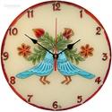 Szerelemmadarak falióra - kérheted felirattal, Otthon, lakberendezés, Esküvő, Falióra, Nászajándék, Festett tárgyak, A madarak a boldogság kék madarait, a szerelemmadarakat szimbolizálják.  A madár motívum ősi magyar..., Meska