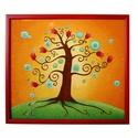 Tulipános életfa falikép, Esküvő, Otthon, lakberendezés, Nászajándék, Falikép, Festett tárgyak, Üvegművészet, Életfát ábrázoló, üvegfestett falikép. Az életfa az életet jelképezi, a változást, a növekedést, a ..., Meska