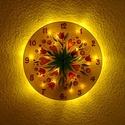 Tulipános fantázia falióra világítással, Otthon, lakberendezés, Falióra, Lámpa, Hangulatlámpa, Üvegművészet, Festészet, Romantikus hangulatot idéző, üvegfestett, egyedi készítésű falióra, mely az óralap hátoldalán talál..., Meska