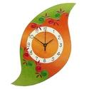 Lélekvirág falióra - narancs-zöld, Otthon, lakberendezés, Dekoráció, Képzőművészet, Falióra, óra, Üvegre festett, egyedi készítésű falióra, mely a LélelkVirág sorozat egyik eleme.  A spirál motívum ..., Meska