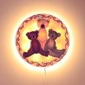 Teddy mackó falilámpa - classic teddy bear, Otthon, lakberendezés, Esküvő, Lámpa, Nászajándék, Klasszikus teddy macik (classic teddy bear) teszik elbűvölővé ezt az üvegre festett fali lámpát, mel..., Meska