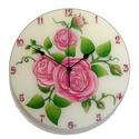 Vintage rózsák falióra - rózsaszín, Otthon, lakberendezés, Esküvő, Falióra, Nászajándék, Festészet, Üvegművészet, Egyedi, kézzel festett, üveg falióra.  Vintage hangulatú, rózsaszín rózsákat ábrázol.  A rózsát a s..., Meska