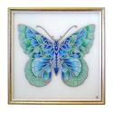 """Pillangó falikép - boho türkiz és zöld, Otthon, lakberendezés, Képzőművészet, Falikép, Festmény, """"Valahányszor valaki jót cselekszik ezen a világon: egy pillangó száll föl a levegőbe, s visz..., Meska"""