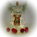 Rénszarvasok hóemberrel lámpa - karácsonyi dekoráció, Otthon, lakberendezés, Dekoráció, Lámpa, Ünnepi dekoráció, Festett tárgyak, Üvegművészet, Ez a kézzel festet karácsonyi üveg tökéletes központja a karácsonyi asztalnak, kiemelkedő dekoráció..., Meska