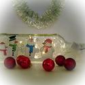 Vidám hóemberekl lámpa - karácsonyi dekoráció, Otthon, lakberendezés, Dekoráció, Lámpa, Ünnepi dekoráció, Festett tárgyak, Üvegművészet, Ez a kézzel festet karácsonyi üveg tökéletes központja a karácsonyi asztalnak, kiemelkedő dekoráció..., Meska