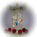 Vidám hóemberekl lámpa - kerek - karácsonyi dekoráció, Otthon, lakberendezés, Dekoráció, Lámpa, Ünnepi dekoráció, Festett tárgyak, Üvegművészet, Ez a kézzel festet karácsonyi üveg tökéletes központja a karácsonyi asztalnak, kiemelkedő dekoráció..., Meska