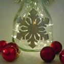 Ezüst hópehely lámpa - karácsonyi dekoráció, Otthon, lakberendezés, Dekoráció, Lámpa, Ünnepi dekoráció, Festett tárgyak, Üvegművészet, Ez a kézzel festet karácsonyi üveg tökéletes központja a karácsonyi asztalnak, kiemelkedő dekoráció..., Meska