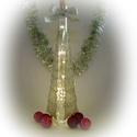 Fehér karácsonyfa lámpa - karácsonyi dekoráció, Otthon, lakberendezés, Dekoráció, Lámpa, Ünnepi dekoráció, Festett tárgyak, Üvegművészet, Ez a kézzel festet karácsonyi üveg tökéletes központja a karácsonyi asztalnak, kiemelkedő dekoráció..., Meska