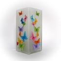 Színes pillangók hangulatlámpa - asztali lámpa - , Otthon, lakberendezés, Baba-mama-gyerek, Lámpa, Hangulatlámpa, Színes pillangók vidám, könnyed mozgása kelti életre ezt a kézzel festett üveg lámpát.  A ..., Meska