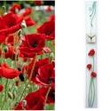 Pipacsok - design üveg óra - hosszú, keskeny forma