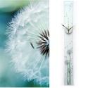 Pitypangok - design üveg óra - hosszú, keskeny forma, Otthon, lakberendezés, Esküvő, Falióra, óra, Nászajándék, Ez az óra kézzel festett, különleges formája és mérete mindenképpen felhívja mindenkinek a figyelmét..., Meska