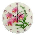 Orchidea falióra - rózsaszín, Otthon, lakberendezés, Esküvő, Falióra, óra, Nászajándék, Üvegre festett, egyedi készítésű falióra.  Gyönyörű, rózsaszín orchideák hajladoznak a az óralap üve..., Meska