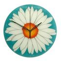 Fehér virág türkizben falióra - ballagásra feliratozható, Otthon, lakberendezés, Esküvő, Falióra, óra, Nászajándék, Kézzel festett, egyedi, üveg falióra.  Modern megjelenésű óra. Tündöklő, fehér margaréta, elegáns tü..., Meska