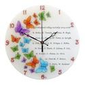 Ballagásra pillangók falióra - nevekkel feliratozva, Otthon, lakberendezés, Esküvő, Falióra, óra, Nászajándék, Kézzel festett, egyedi, üveg falióra.  A színes pillangószárnyakat gyönyörűen csillogó str..., Meska