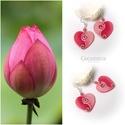 Rózsa és szív - gyöngyház fülbevaló, Ékszer, óra, Mindenmás, Fülbevaló, Ékszerkészítés, Festett tárgyak, Egyedi, kézzel festett, gyöngyház fülbevaló,  rekonstruált rózsakvarc ásványgyöngyökkel.  Rózsaszín..., Meska
