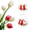 Piros tulipán - gyöngyház karkötő, Ékszer, Esküvő, Esküvői ékszer, Karkötő, Egyedi, kézzel festett gyöngyház karkötő.  A tulipán a nőiség szimbóluma.   Szirmaival kitárulkozik ..., Meska