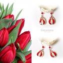 Piros tulipán - gyöngyház fülbevaló, Ékszer, óra, Esküvő, Fülbevaló, Esküvői ékszer, Egyedi, kézzel festet gyöngyház fülbevaló.  A tulipán a nőiség szimbóluma, a termékenység energiáit ..., Meska