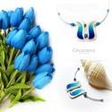 Kék tulipán - gyöngyház nyakék, Ékszer, Esküvő, Nyaklánc, Esküvői ékszer, Egyedi, kézzel festett gyöngyház nyakék.  A tulipán a nőiség szimbóluma, a termékenység energiáit ho..., Meska